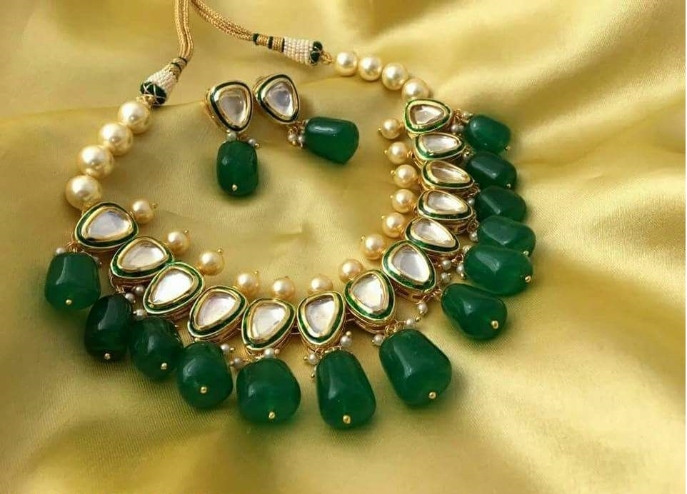 set antique kundan online green necklace stone