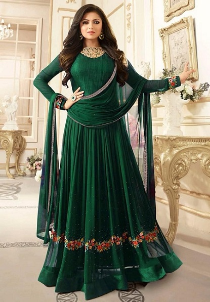 Bottle Green semistitched dress material-2