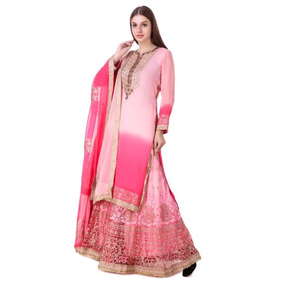 Pink Georgette Sharara