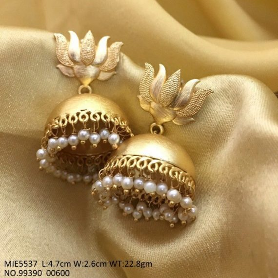 Lime-gold colour matte jhumkas