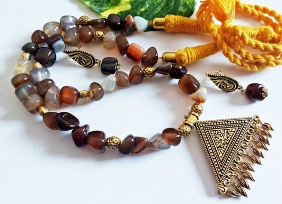 BROWN AGATE NECKLACE SET