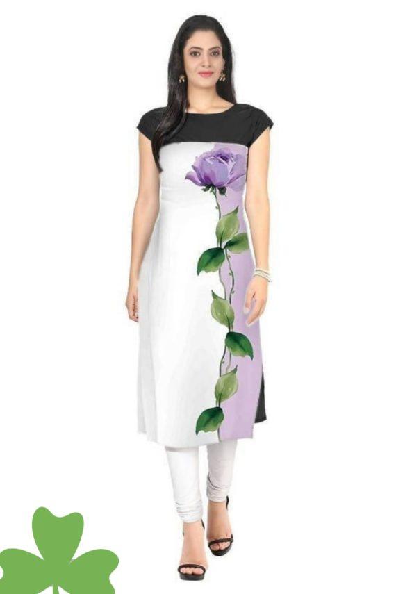 White Digital Design Floral Kurti