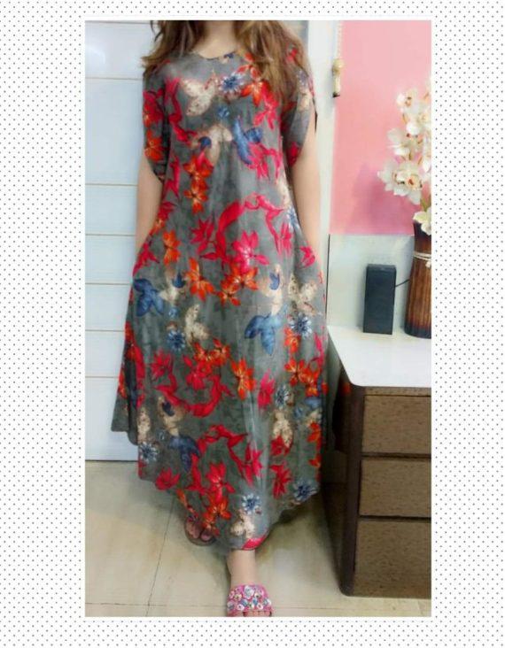 Printed grey Reyon Dress