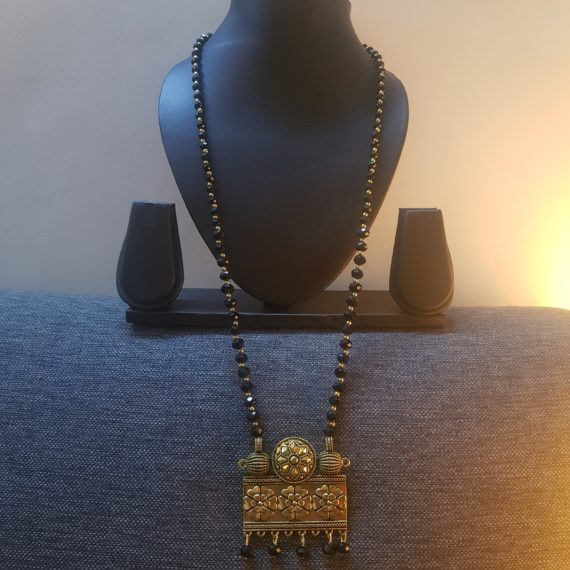 Gold and Black Beads Rectangle Pendant