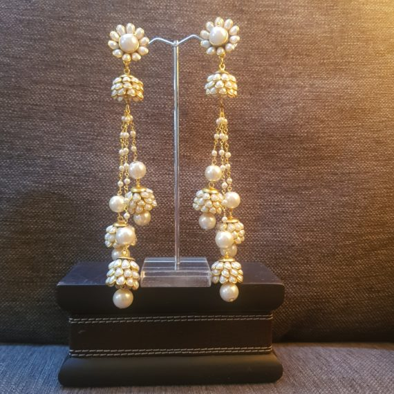 Long Jaipur Pearls Earrings