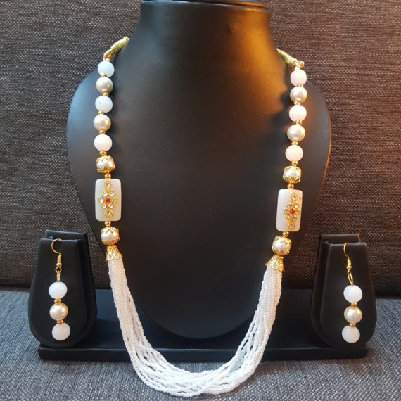 White Small and Large Pearls Mala with Earrings