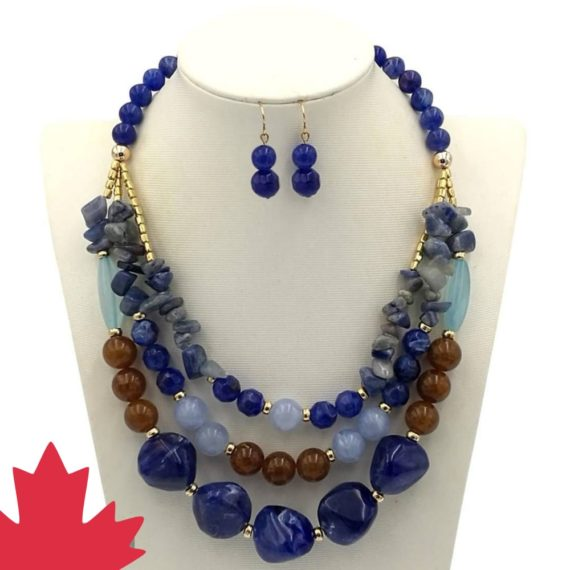 Blue and Brown Nuggets Necklace Set