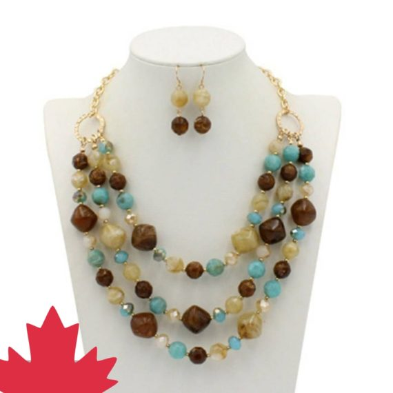 Brown and Saphire Nuggets Necklace Set